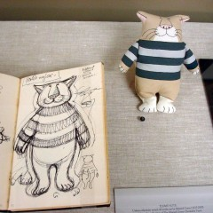 Edward Gorey cat doll and sketch